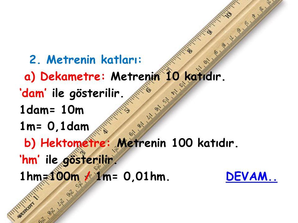 2.Metrenin katları: a) Dekametre: Metrenin 10 katıdır.