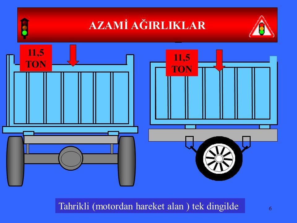 47 ARAÇLARIN YÜKLENMESİ Aracın boyunu önden 1 metre, arkadan 2 metre aşacak, Kasanın sağ ve sol yanından taşacak, şekilde yüklenmesi yasaktır.