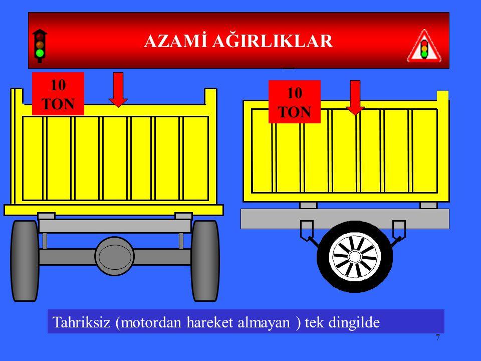 8 TOPLAM (YÜKLÜ) AĞIRLIKLAR İki dingilli araçlarda yüklü iken 18 ton, Uzunluk 12 metredir