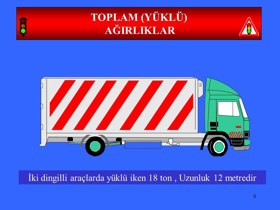 9 TOPLAM (YÜKLÜ) AĞIRLIKLAR Üç dingilli yarı römorklu araçlarda yüklü iken 28 ton, uzunluk 16.50 metredir