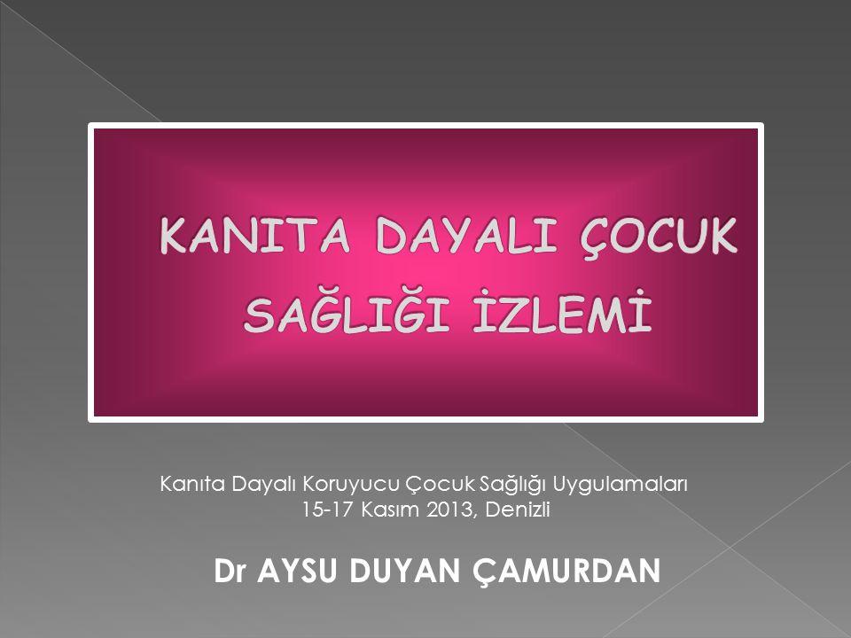 Dr AYSU DUYAN ÇAMURDAN Kanıta Dayalı Koruyucu Çocuk Sağlığı Uygulamaları 15-17 Kasım 2013, Denizli