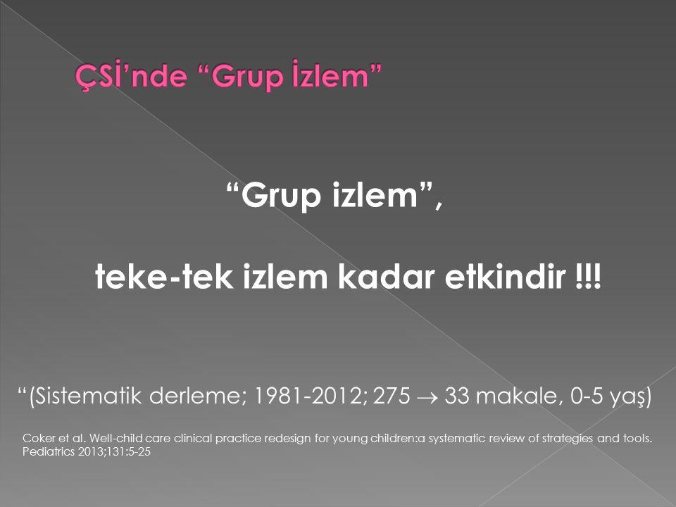 Grup izlem , teke-tek izlem kadar etkindir !!.Coker et al.