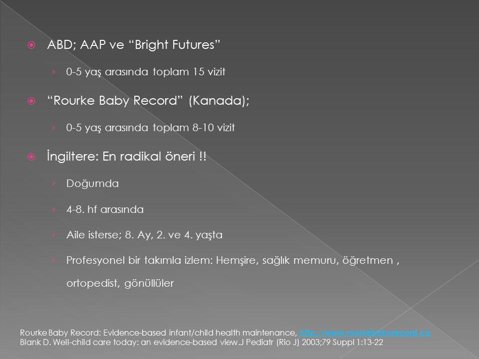 """ ABD; AAP ve """"Bright Futures"""" › 0-5 yaş arasında toplam 15 vizit  """"Rourke Baby Record"""" (Kanada); › 0-5 yaş arasında toplam 8-10 vizit  İngiltere: E"""