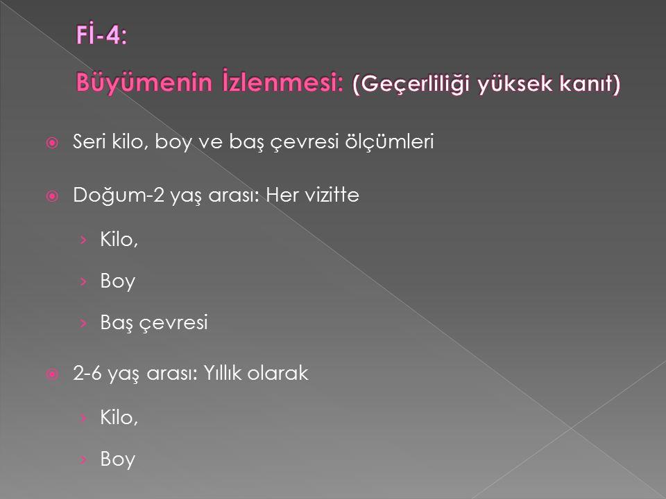  Seri kilo, boy ve baş çevresi ölçümleri  Doğum-2 yaş arası: Her vizitte › Kilo, › Boy › Baş çevresi  2-6 yaş arası: Yıllık olarak › Kilo, › Boy