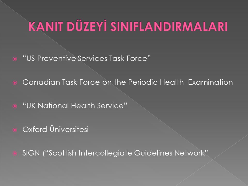  US Preventive Services Task Force  Canadian Task Force on the Periodic Health Examination  UK National Health Service  Oxford Üniversitesi  SIGN ( Scottish Intercollegiate Guidelines Network