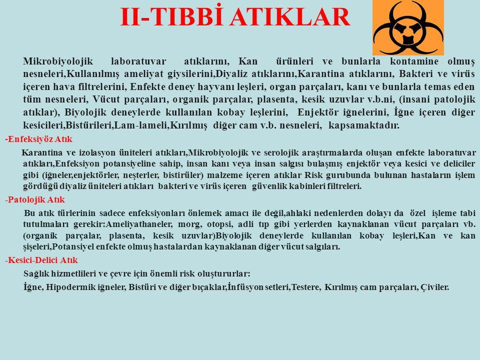 II-TIBBİ ATIKLAR Mikrobiyolojik laboratuvar atıklarını, Kan ürünleri ve bunlarla kontamine olmuş nesneleri,Kullanılmış ameliyat giysilerini,Diyaliz at