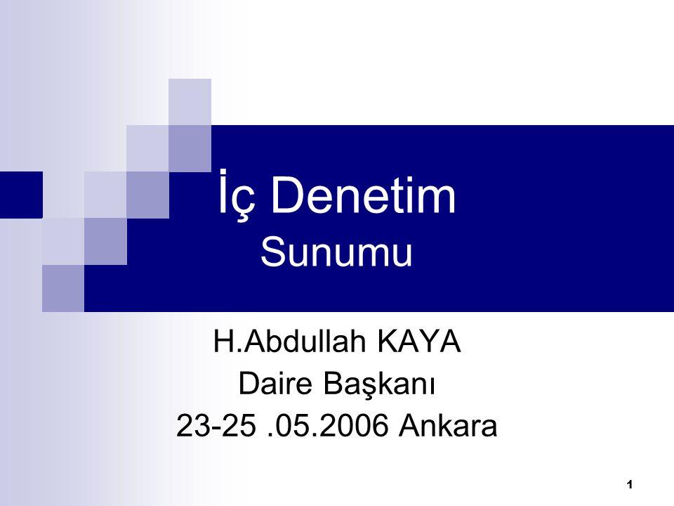 1 İç Denetim Sunumu H.Abdullah KAYA Daire Başkanı 23-25.05.2006 Ankara