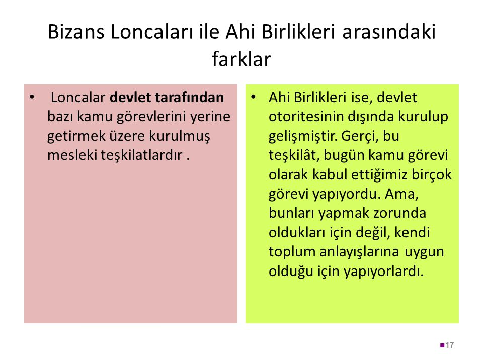 Bizans Loncaları ile Ahi Birlikleri arasındaki farklar Loncalar devlet tarafından bazı kamu görevlerini yerine getirmek üzere kurulmuş mesleki teşkila