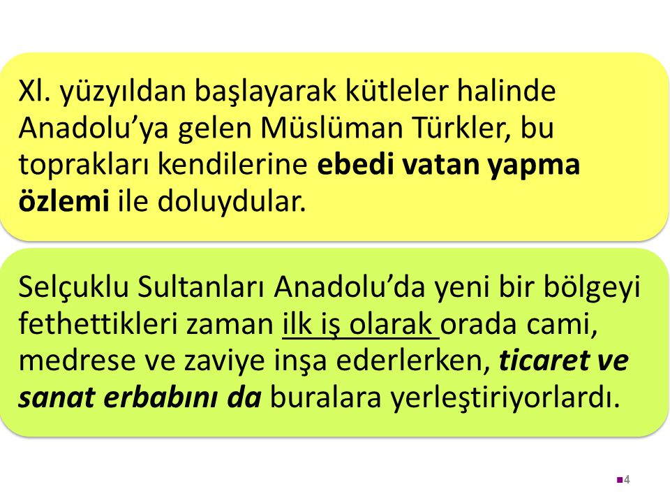 4 Xl. yüzyıldan başlayarak kütleler halinde Anadolu'ya gelen Müslüman Türkler, bu toprakları kendilerine ebedi vatan yapma özlemi ile doluydular. Selç
