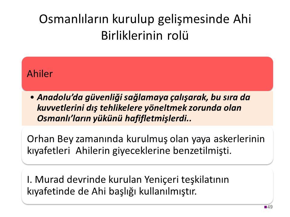 Osmanlıların kurulup gelişmesinde Ahi Birliklerinin rolü 49 Ahiler Anadolu'da güvenliği sağlamaya çalışarak, bu sıra da kuvvetlerini dış tehlikelere y