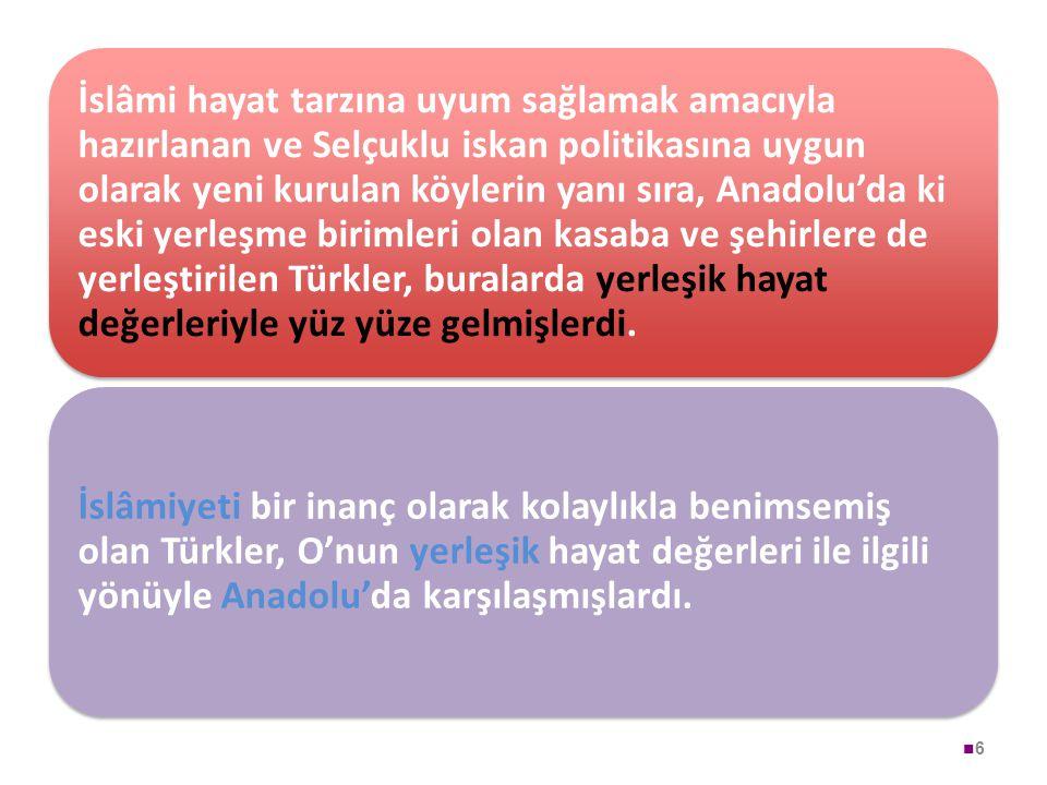 6 İslâmi hayat tarzına uyum sağlamak amacıyla hazırlanan ve Selçuklu iskan politikasına uygun olarak yeni kurulan köylerin yanı sıra, Anadolu'da ki es