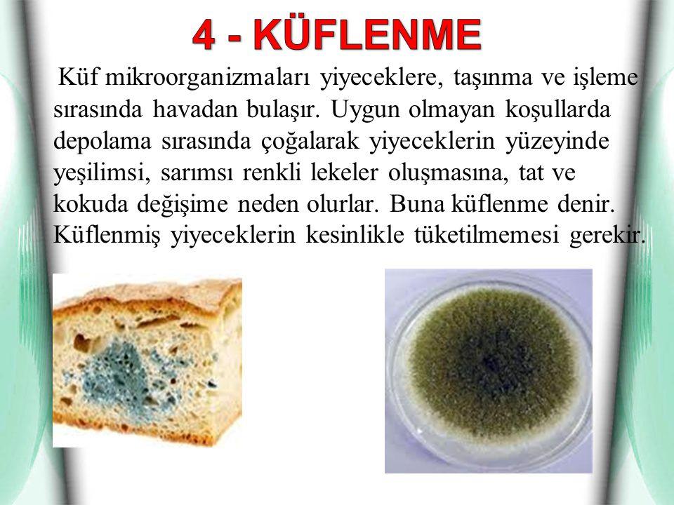 Küf mikroorganizmaları yiyeceklere, taşınma ve işleme sırasında havadan bulaşır. Uygun olmayan koşullarda depolama sırasında çoğalarak yiyeceklerin yü