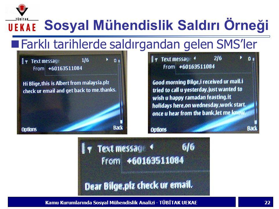 Sosyal Mühendislik Saldırı Örneği 22Kamu Kurumlarında Sosyal Mühendislik Analizi - TÜBİTAK UEKAE Farklı tarihlerde saldırgandan gelen SMS'ler