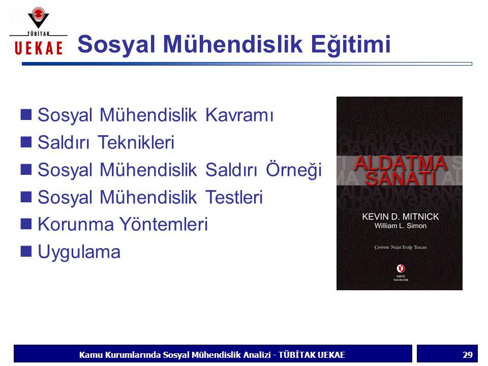 Sosyal Mühendislik Eğitimi 29Kamu Kurumlarında Sosyal Mühendislik Analizi - TÜBİTAK UEKAE Sosyal Mühendislik Kavramı Saldırı Teknikleri Sosyal Mühendi