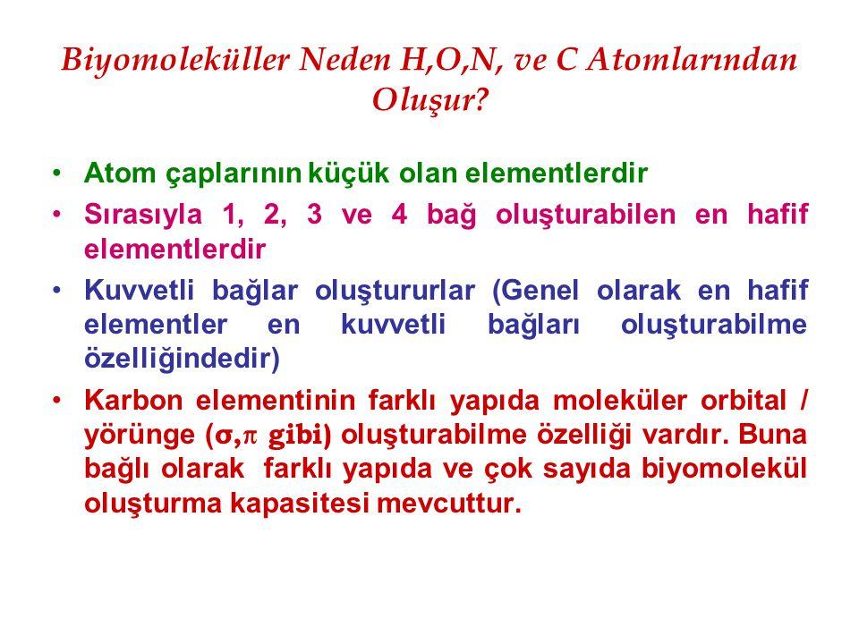 Biyomoleküller Neden H,O,N, ve C Atomlarından Oluşur? Atom çaplarının küçük olan elementlerdir Sırasıyla 1, 2, 3 ve 4 bağ oluşturabilen en hafif eleme