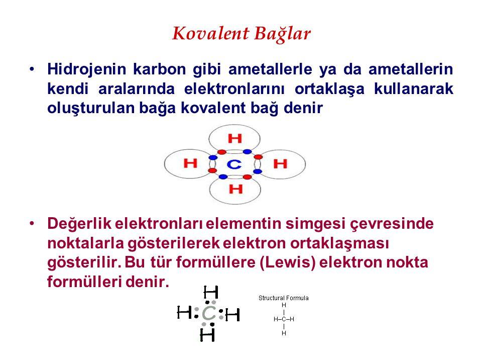 Kovalent Bağlar Hidrojenin karbon gibi ametallerle ya da ametallerin kendi aralarında elektronlarını ortaklaşa kullanarak oluşturulan bağa kovalent ba