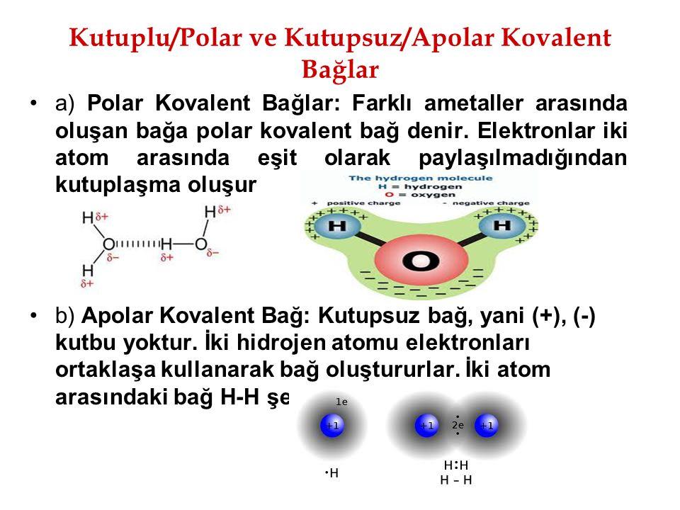 Kutuplu/Polar ve Kutupsuz/Apolar Kovalent Bağlar a) Polar Kovalent Bağlar: Farklı ametaller arasında oluşan bağa polar kovalent bağ denir. Elektronlar