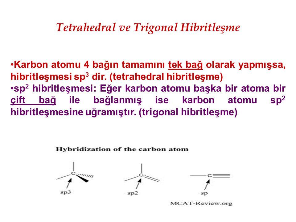 Tetrahedral ve Trigonal Hibritleşme Karbon atomu 4 bağın tamamını tek bağ olarak yapmışsa, hibritleşmesi sp 3 dir. (tetrahedral hibritleşme) sp 2 hibr