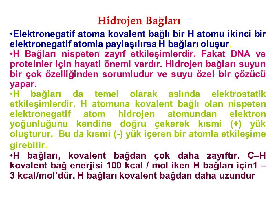 Hidrojen Bağları Elektronegatif atoma kovalent bağlı bir H atomu ikinci bir elektronegatif atomla paylaşılırsa H bağları oluşur. H Bağları nispeten za