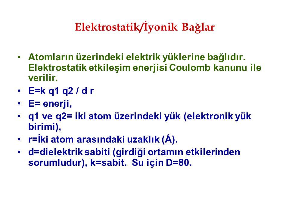 Atomların üzerindeki elektrik yüklerine bağlıdır. Elektrostatik etkileşim enerjisi Coulomb kanunu ile verilir. E=k q1 q2 / d r E= enerji, q1 ve q2= ik