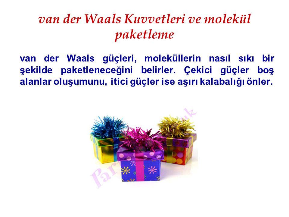 van der Waals Kuvvetleri ve molekül paketleme van der Waals güçleri, moleküllerin nasıl sıkı bir şekilde paketleneceğini belirler. Çekici güçler boş a