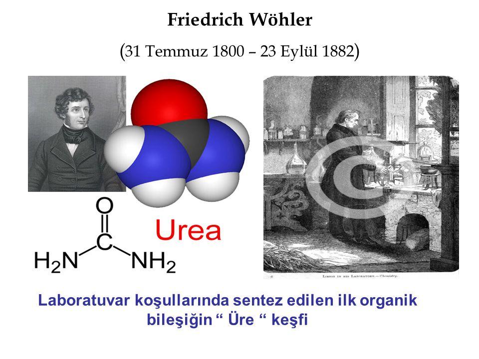 """Friedrich Wöhler ( 31 Temmuz 1800 – 23 Eylül 1882 ) Laboratuvar koşullarında sentez edilen ilk organik bileşiğin """" Üre """" keşfi"""