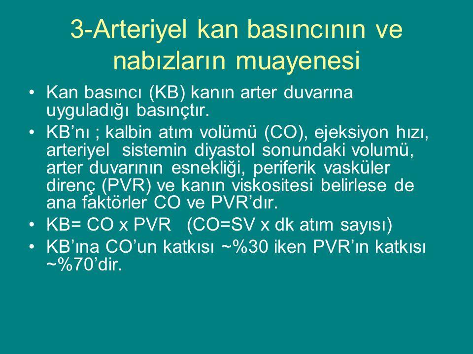 3-Arteriyel kan basıncının ve nabızların muayenesi Kan basıncı (KB) kanın arter duvarına uyguladığı basınçtır.