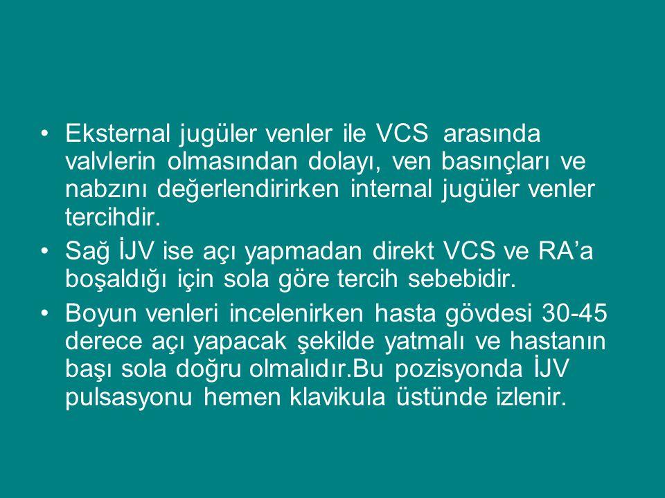 Eksternal jugüler venler ile VCS arasında valvlerin olmasından dolayı, ven basınçları ve nabzını değerlendirirken internal jugüler venler tercihdir.