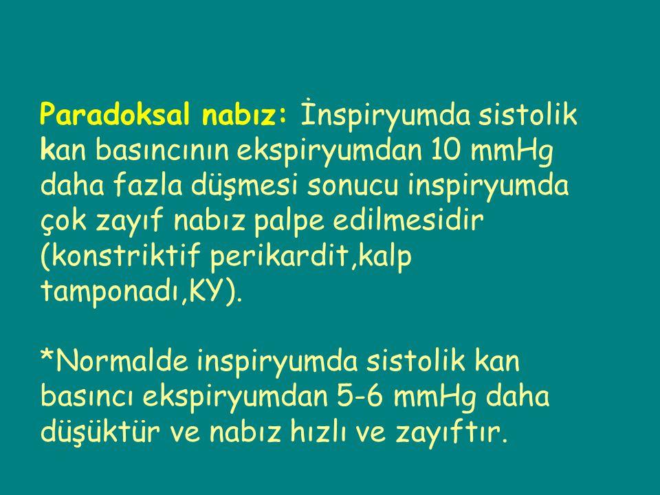 Paradoksal nabız: İnspiryumda sistolik kan basıncının ekspiryumdan 10 mmHg daha fazla düşmesi sonucu inspiryumda çok zayıf nabız palpe edilmesidir (ko