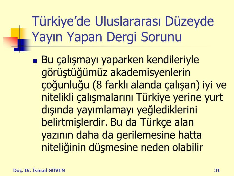 Doç. Dr. İsmail GÜVEN31 Türkiye'de Uluslararası Düzeyde Yayın Yapan Dergi Sorunu Bu çalışmayı yaparken kendileriyle görüştüğümüz akademisyenlerin çoğu