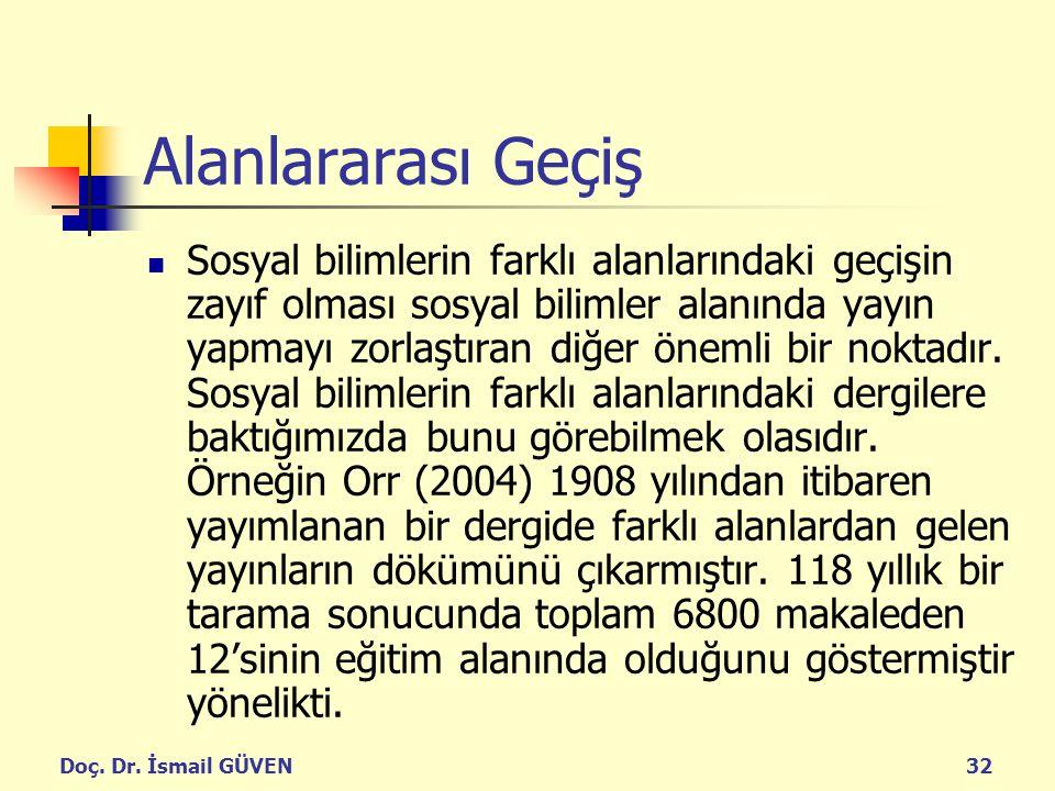 Doç. Dr. İsmail GÜVEN32 Alanlararası Geçiş Sosyal bilimlerin farklı alanlarındaki geçişin zayıf olması sosyal bilimler alanında yayın yapmayı zorlaştı