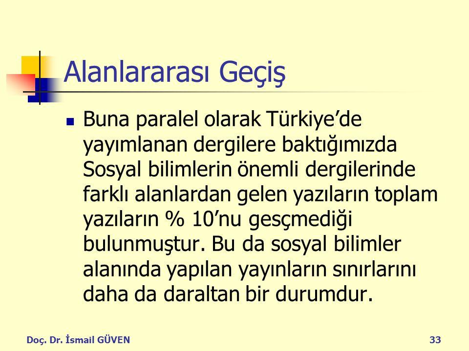 Doç. Dr. İsmail GÜVEN33 Alanlararası Geçiş Buna paralel olarak Türkiye'de yayımlanan dergilere baktığımızda Sosyal bilimlerin önemli dergilerinde fark
