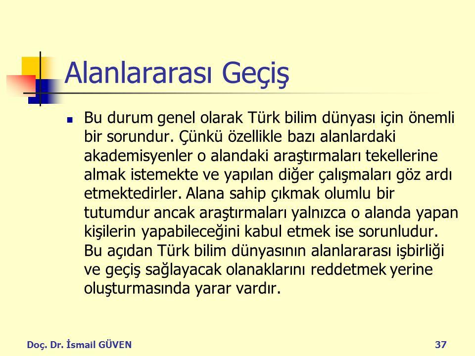 Doç. Dr. İsmail GÜVEN37 Alanlararası Geçiş Bu durum genel olarak Türk bilim dünyası için önemli bir sorundur. Çünkü özellikle bazı alanlardaki akademi