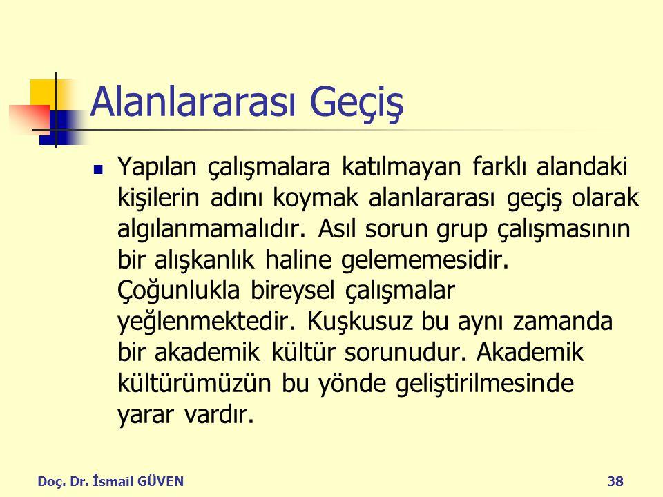 Doç. Dr. İsmail GÜVEN38 Alanlararası Geçiş Yapılan çalışmalara katılmayan farklı alandaki kişilerin adını koymak alanlararası geçiş olarak algılanmama
