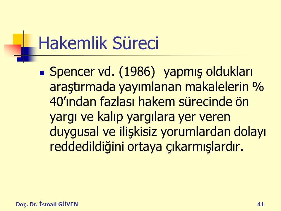 Doç. Dr. İsmail GÜVEN41 Hakemlik Süreci Spencer vd. (1986) yapmış oldukları araştırmada yayımlanan makalelerin % 40'ından fazlası hakem sürecinde ön y