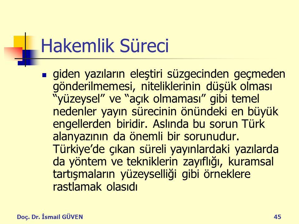 """Doç. Dr. İsmail GÜVEN45 Hakemlik Süreci giden yazıların eleştiri süzgecinden geçmeden gönderilmemesi, niteliklerinin düşük olması """"yüzeysel"""" ve """"açık"""