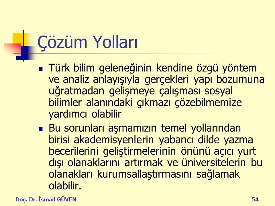 Doç. Dr. İsmail GÜVEN54 Çözüm Yolları Türk bilim geleneğinin kendine özgü yöntem ve analiz anlayışıyla gerçekleri yapı bozumuna uğratmadan gelişmeye ç