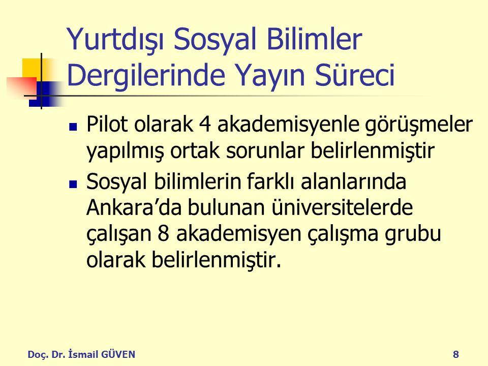 Doç. Dr. İsmail GÜVEN8 Yurtdışı Sosyal Bilimler Dergilerinde Yayın Süreci Pilot olarak 4 akademisyenle görüşmeler yapılmış ortak sorunlar belirlenmişt