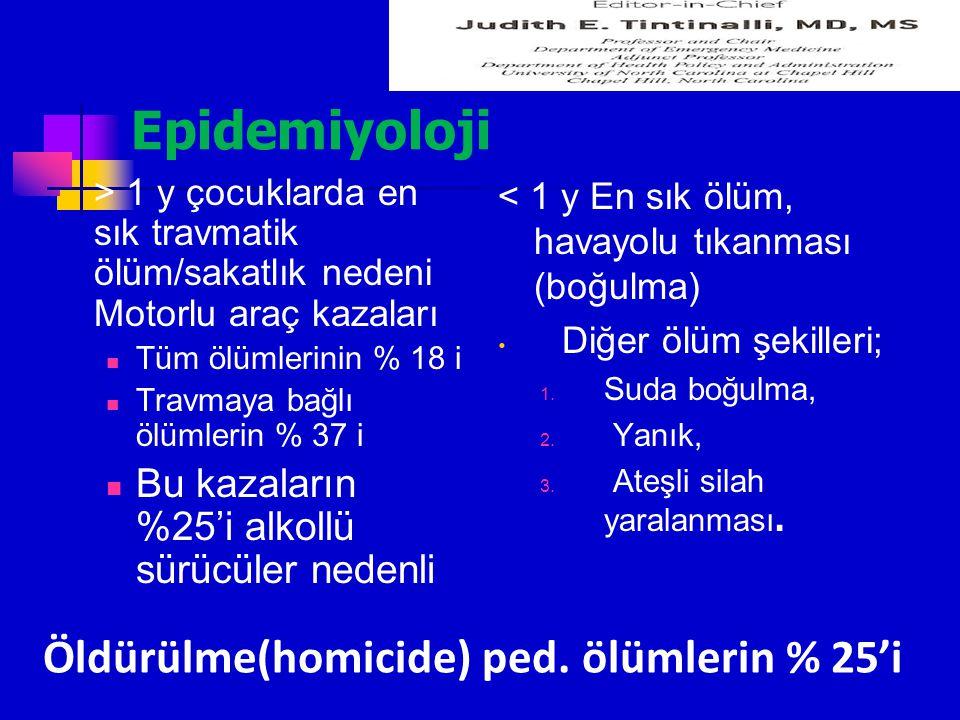 Kafa travması Post travmatik nöbetler, Nadir Nöbetin, tekrarlama oranı %50 GKS < 8 olan çocuklarda profilaksi Fenitoin yükleme 10-20 mg/kg Nöbet varlığında benzodiazepine Epidural