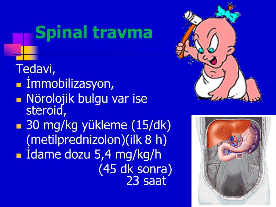 Spinal travma X-ray endikasyonları yetişkinle aynı Çocuklarda ajitasyon ve uyumsuzluk nedeniyle NEXUS kriterleri uygulanamayabilir  %66 radyolojik bu