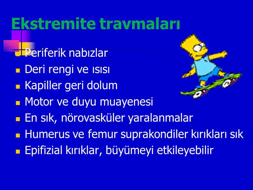 Abdominal Travma Dalak (kalın kapsül, geç bulgu) Karaciğer (yüksek mortalite) Barsak (ileum>çekum>duodenal hemotom) Kızlarda labial hemotom ve laseras