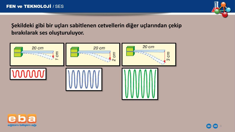 FEN ve TEKNOLOJİ / SES 8 Şekildeki gibi bir uçları sabitlenen cetvellerin diğer uçlarından çekip bırakılarak ses oluşturuluyor.