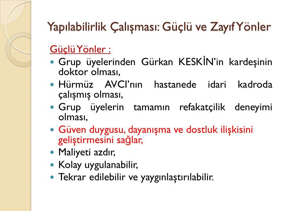Yapılabilirlik Çalışması: Güçlü ve Zayıf Yönler Güçlü Yönler : Grup üyelerinden Gürkan KESK İ N'in kardeşinin doktor olması, Hürmüz AVCI'nın hastanede