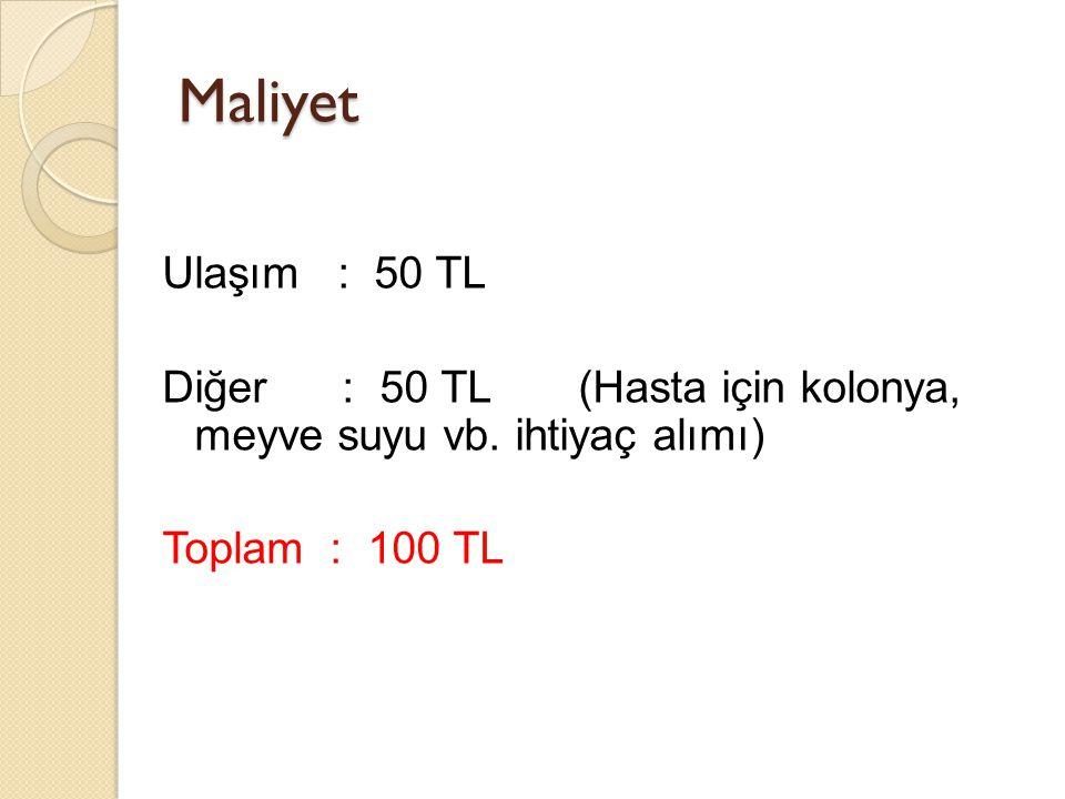 Maliyet Ulaşım : 50 TL Diğer : 50 TL(Hasta için kolonya, meyve suyu vb. ihtiyaç alımı) Toplam : 100 TL