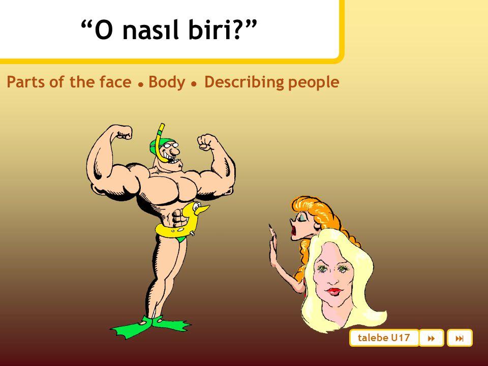 O nasıl biri? Parts of the face ● Body ● Describing people talebe U17 
