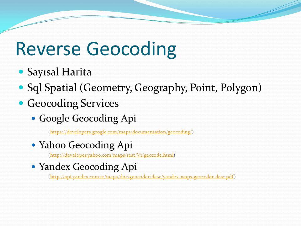 Reverse Geocoding Sayısal Harita Sql Spatial (Geometry, Geography, Point, Polygon) Geocoding Services Google Geocoding Api (https://developers.google.