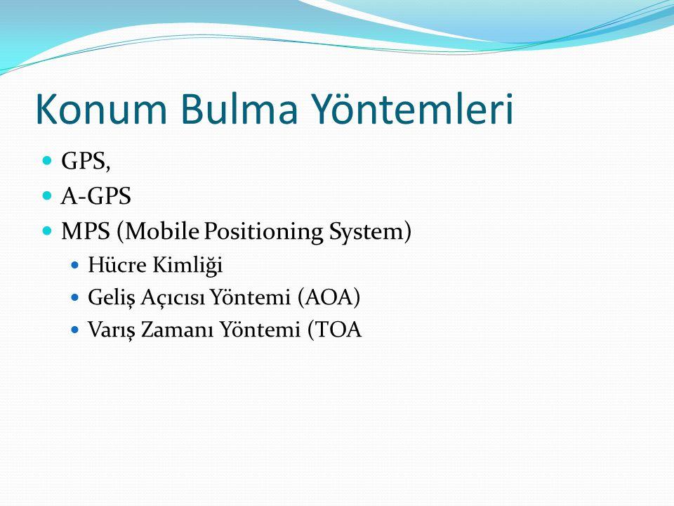 Konum Bulma Yöntemleri GPS, A-GPS MPS (Mobile Positioning System) Hücre Kimliği Geliş Açıcısı Yöntemi (AOA) Varış Zamanı Yöntemi (TOA
