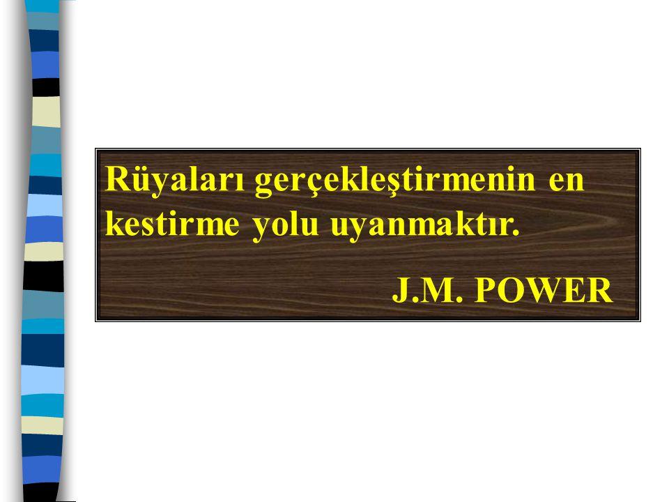 Rüyaları gerçekleştirmenin en kestirme yolu uyanmaktır. J.M. POWER