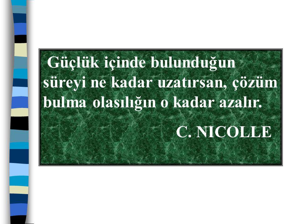 Güçlük içinde bulunduğun süreyi ne kadar uzatırsan, çözüm bulma olasılığın o kadar azalır. C. NICOLLE
