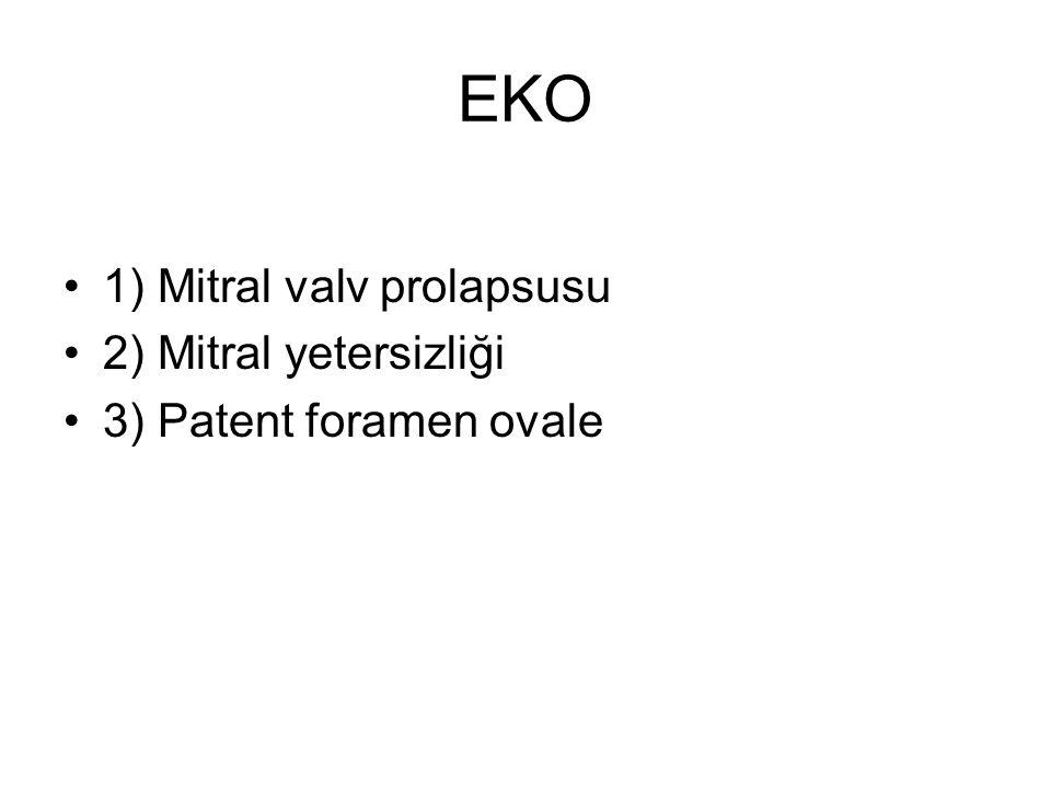 EKO 1) Mitral valv prolapsusu 2) Mitral yetersizliği 3) Patent foramen ovale